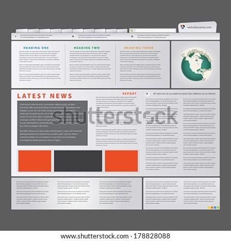 Editable web site template, News blog - stock vector