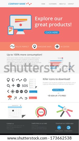 Editable web template - flat design - stock vector