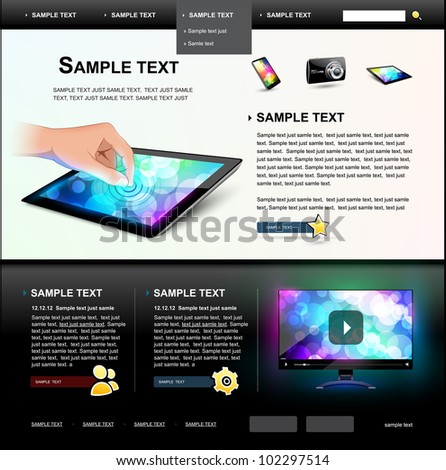 Editable Website Template 5. - stock vector