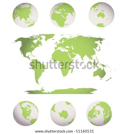 editable world map and  earth globes