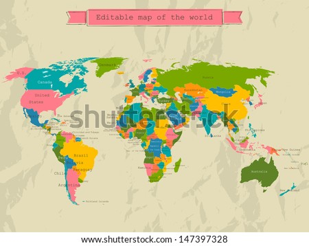 Editable world map with all Countries. Vector illustration EPS8 - stock vector