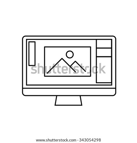 editing picture in photo editor software on personal all in one computer photography vector linear icon and infographic | illustrations of gear and equipment for photographers   on white background - stock vector