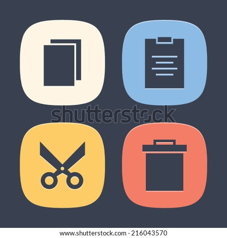 Editing Set of Icons. Vector symbol pictogram icon design. Simple flat metro style. Save for esp10 - stock vector
