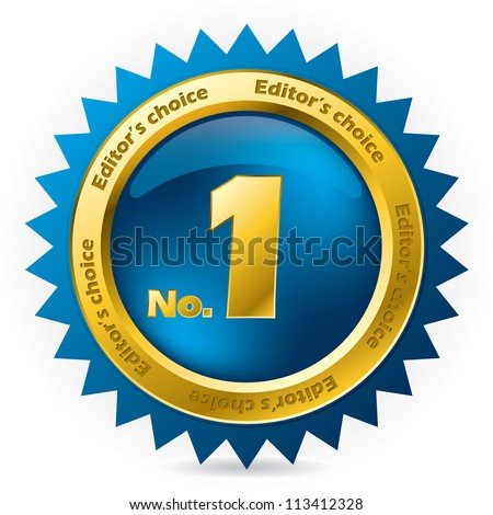 Editor's choice number one award badge on white - stock vector