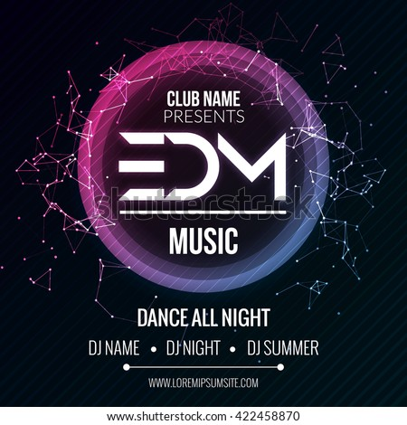EDM Club Music Party Template, Dance Party Flyer, brochure. Night Party Club sound Banner Poster discotheque - stock vector