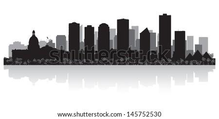 Edmonton Canada city skyline silhouette vector illustration - stock vector