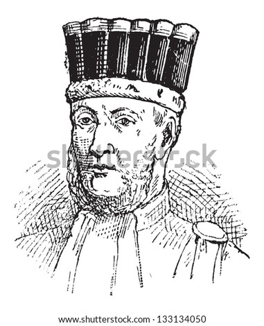 Edouard Adolphe Casimir Joseph Mortier, French General and Marshal of France under Napoleon Bonaparte, vintage engraved illustration. Dictionary of Words and Things - Larive and Fleury - 1895 - stock vector