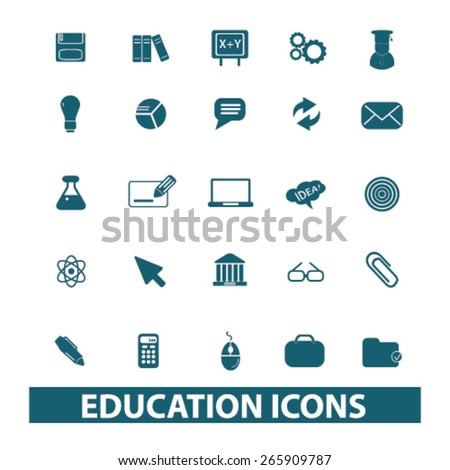 educataion, school, learning icons, signs, illustrations design concept set for appliciation, website, vector on white background