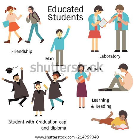 Educated students in many characters, man and woman, walking with friend, learning in laboratory, reading, and graduation cap and diploma. Simple design.  - stock vector