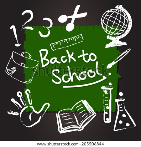 education and back to school, knowledge design icon element collection set written on blackboard background vector - stock vector