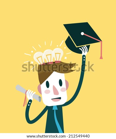 Education and knowledge concept. flat design element. vector illustration - stock vector