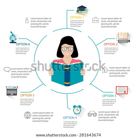 Education and learning infographic. Infographics for online studying, e learning, reading online;  vector illustration. - stock vector