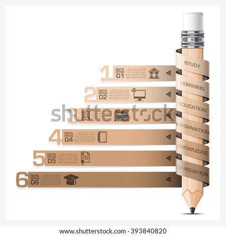 Education And Learning Infographic With Spiral Tag Pencil Diagram Vector Design Template - stock vector