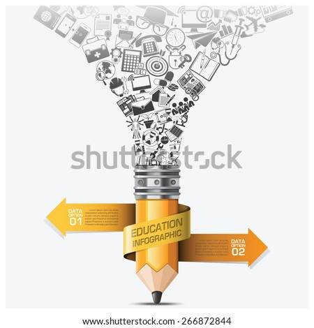Education And Learning Step Infographic With Spiral Arrow Icon Pencil Vector Design Template - stock vector