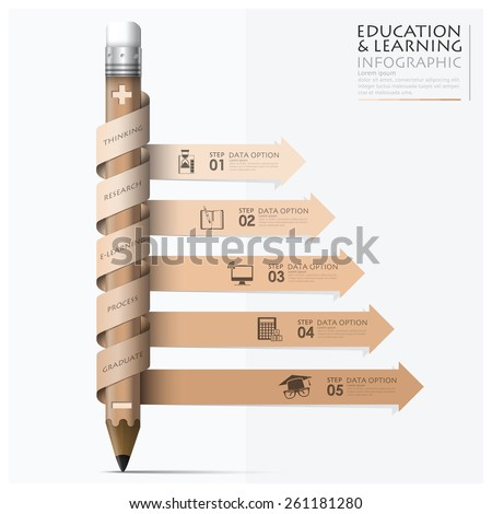 Education And Learning Step Infographic With Spiral Arrow Pencil Design Template  - stock vector
