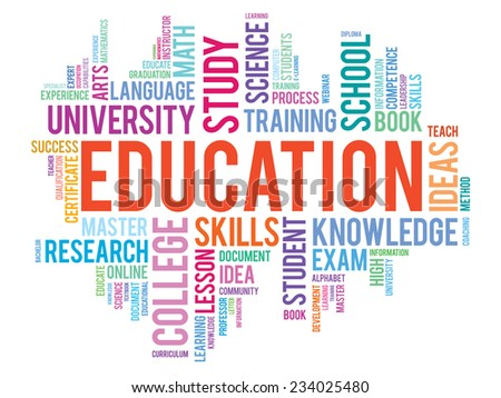 Education and learning vector business concept words in tag cloud - stock vector