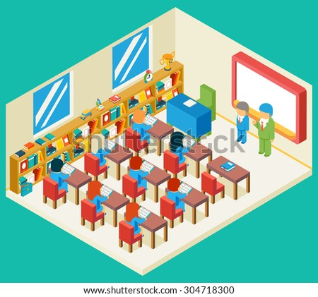 Education and school class isometric 3d concept. Bookshelf and teacher, pupil and isometric people, classroom and children, vector illustration - stock vector