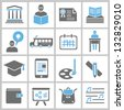 education and school concept icons set, vector - stock vector