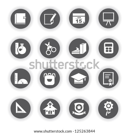 education and school icon set - stock vector