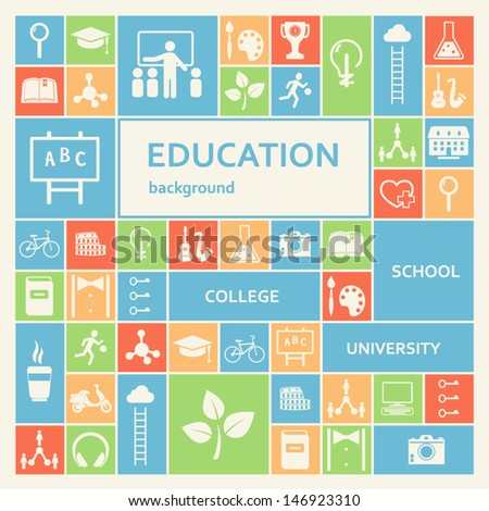 Education and School Icons Background - stock vector