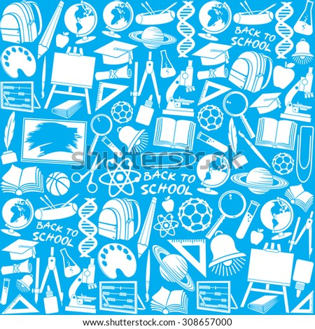 education and school icons background (education and school icons seamless pattern, school icons design) - stock vector