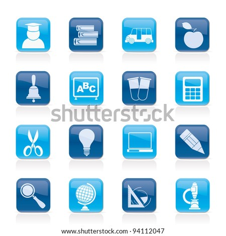 education and school icons - vector icon set - stock vector