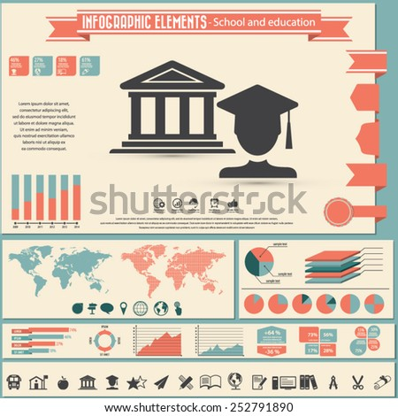 Education and school - infographic elements and Icon set.  - stock vector