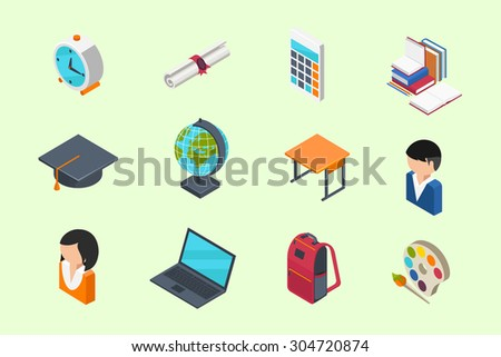 Education and School isometric 3d icons set in flat style - stock vector