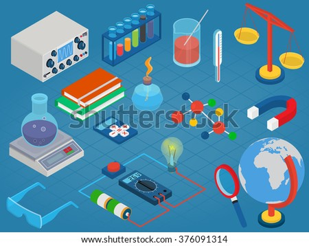 Education and School, Science research lab technology objects icon set flat 3d isometric modern design template. - stock vector