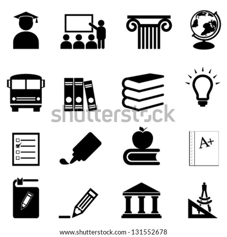 Education and schools icon set - stock vector