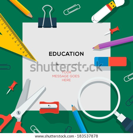 Education and science concept - template with school supplies, vector illustration.  - stock vector