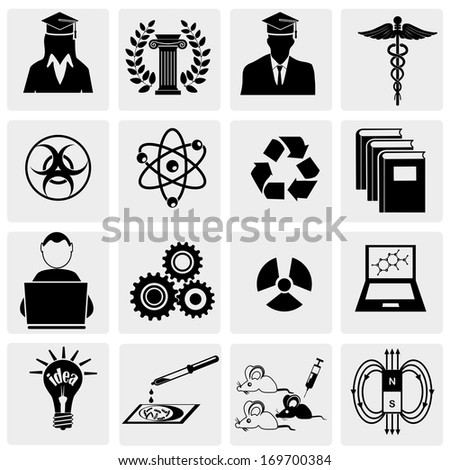 Education and science icon set - stock vector