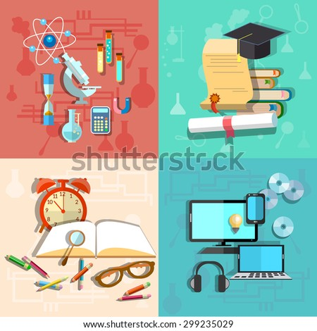 education science online learning college school stock vector  education and science online learning college school university computer laptop laboratory chemistry physics alarm clock books