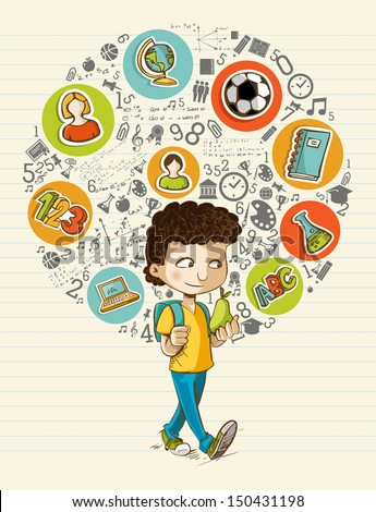 Education back to school cartoon boy colorful global icons. Vector layered for easy personalization. - stock vector