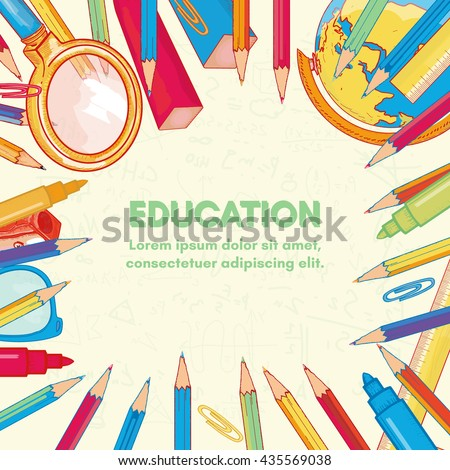 Education background back to school vector illustration