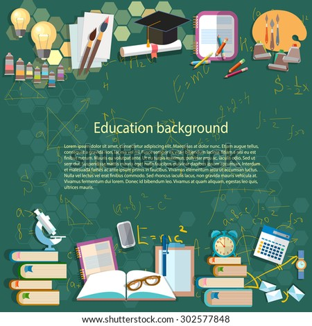 Education background: math formula algebra geometry thinking learning back to school university college idea light bulb student objects vector illustration - stock vector