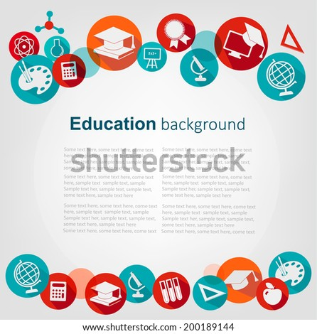 Education background with icons. Vector  - stock vector