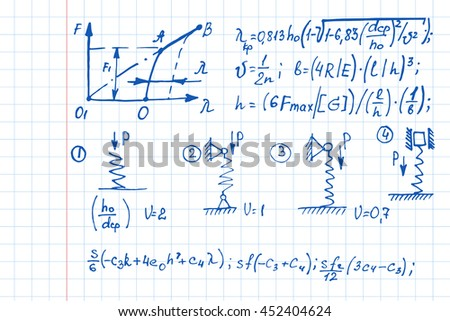 Education background with physics formulas and equations on notebook page. School notation. Vector illustration.