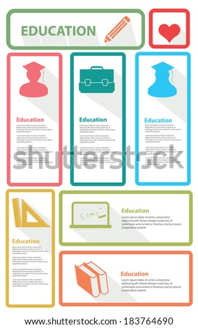 Education banner for text, vector - stock vector
