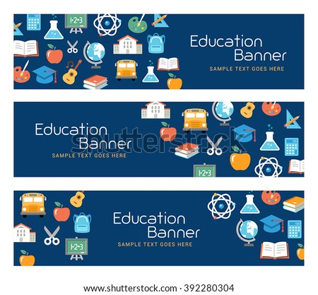 Education banners, e-learning, school activities. Flat design style. - stock vector