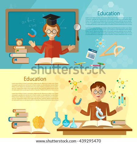 Education banners student at the school board back to school education background vector illustration - stock vector