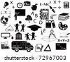 education black icon set for web design - stock photo