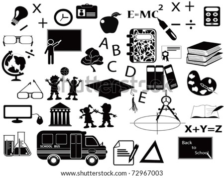 education black icon set for web design - stock vector