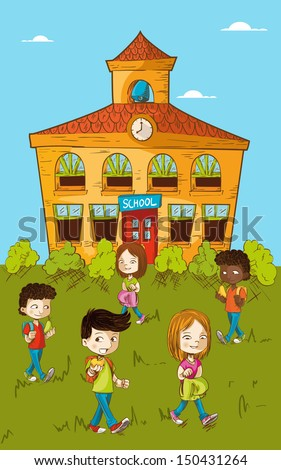 Education cartoon kids walking back to school illustration. Vector layered for easy personalization.