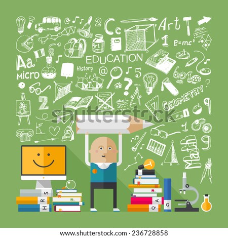 Education concept background & doodle set icons - stock vector