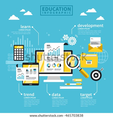 Education concept flat design with laptop and stationery