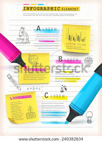 Infographic Ideas infographic template education : Education Concept Infographic Template Design Sticky Stock Vector ...