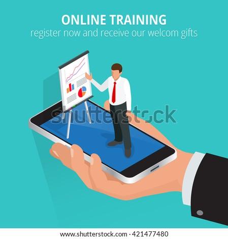 Education concept: online training. Flat design concepts for online education,online training courses, staff training, retraining, specialization, university, tutorials.  - stock vector