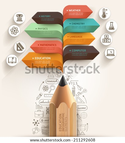 Education concept. Pencil and bubble speech arrow template. can be used for workflow layout, diagram, number options, step up options, web design, banner template, infographic. - stock vector
