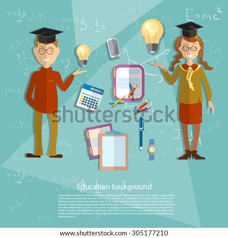 Education concept schoolboy schoolgirl textbooks classroom uniform college algebra math geometry formula school board university vector illustration - stock vector